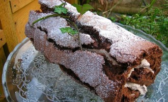 Chocolate Chestnut Log (Roulade) for Christmas or any other occasion.