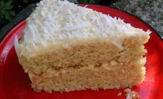 Slice of Coconut Milk Layer Cake