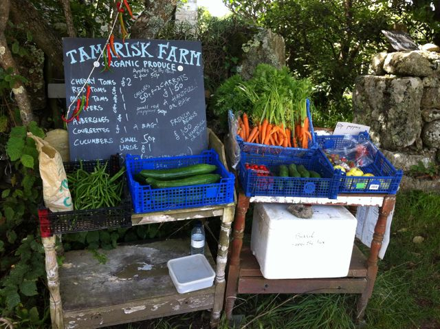 Organic produce for sale on St Agnes, Isles of Scilly.