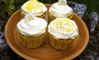 Lemon and White Chocolate Cupcakes topped with Lemon Chantilly Cream