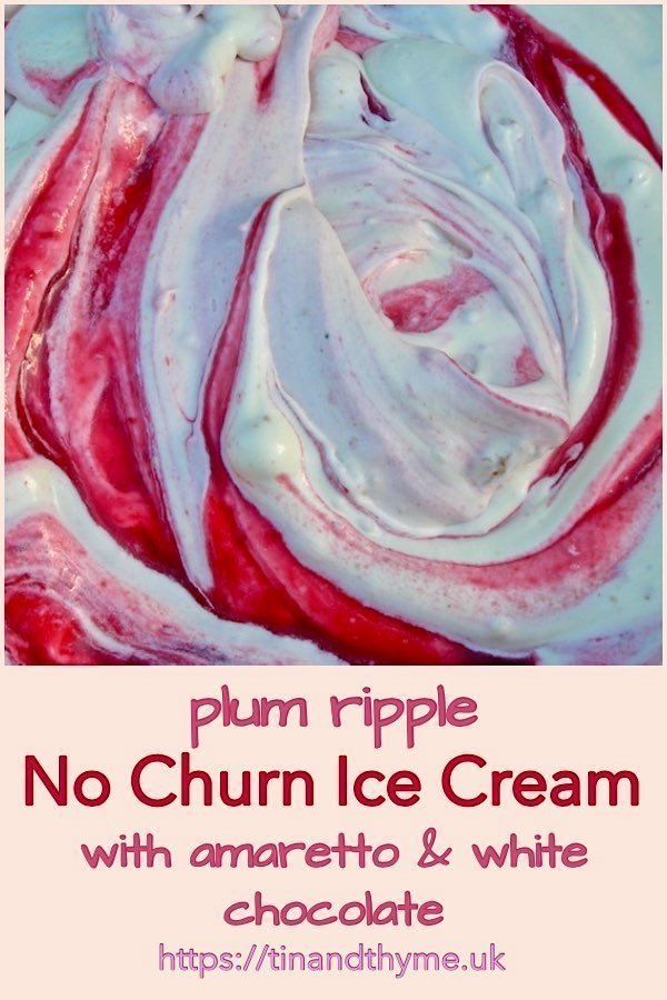 Plum Ripple Ice Cream with Amaretto and White Chocolate