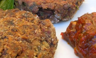 Chocolate Bean Burgers served with hot chilli sauce.