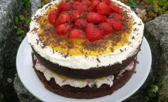 Chocolate Pomegranate Cake with Lemon Curd and Strawberries - A birthday Cake fit for a Princess