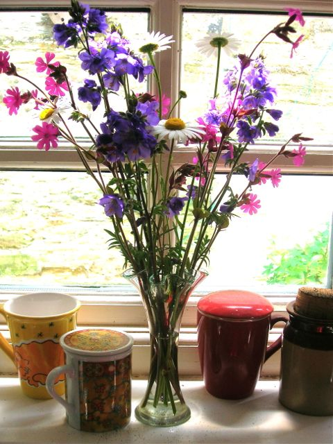 Wild Flowers in a glass vase.