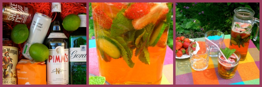 Pimms No 1 Cocktail. Three images showing variously the ingredients, a jug and glass of the cocktails and a close up.