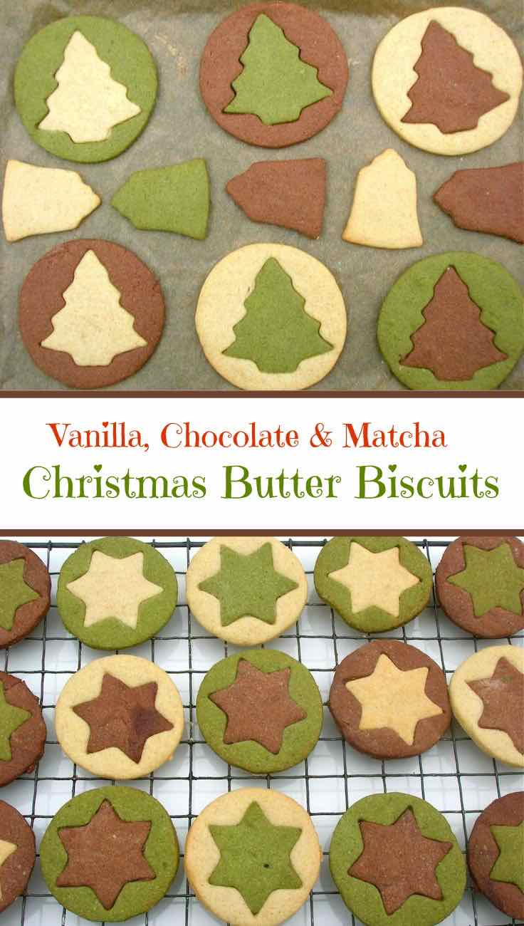 Christmas Butter Biscuits flavoured with vanilla, chocolate and matcha.