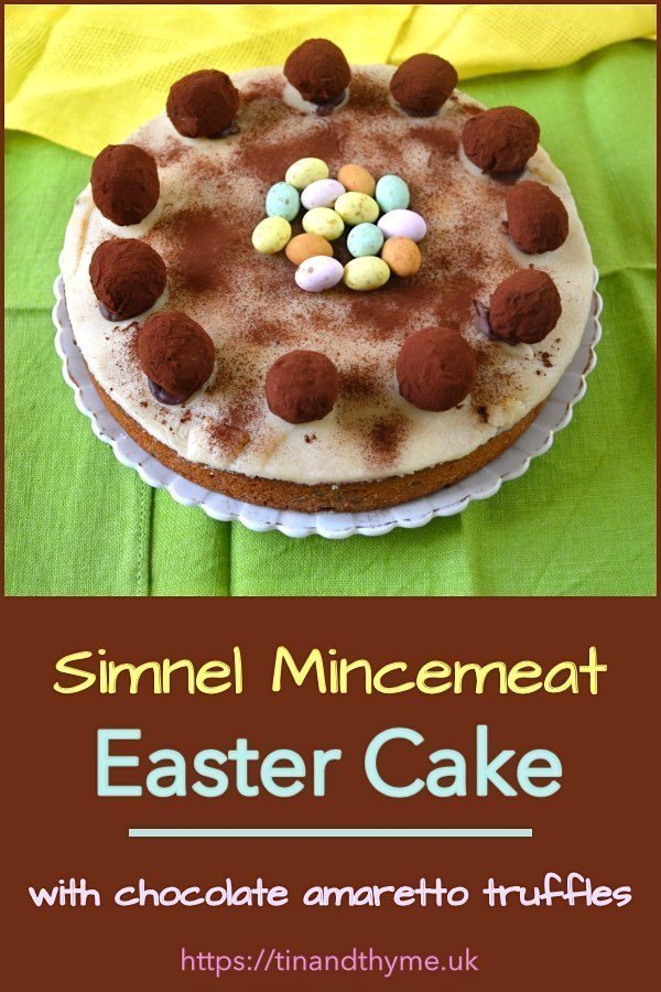 Simnel Mincemeat Easter Cake with Amaretto Chocolate Truffle Apostles and a Nest of Mini Eggs.