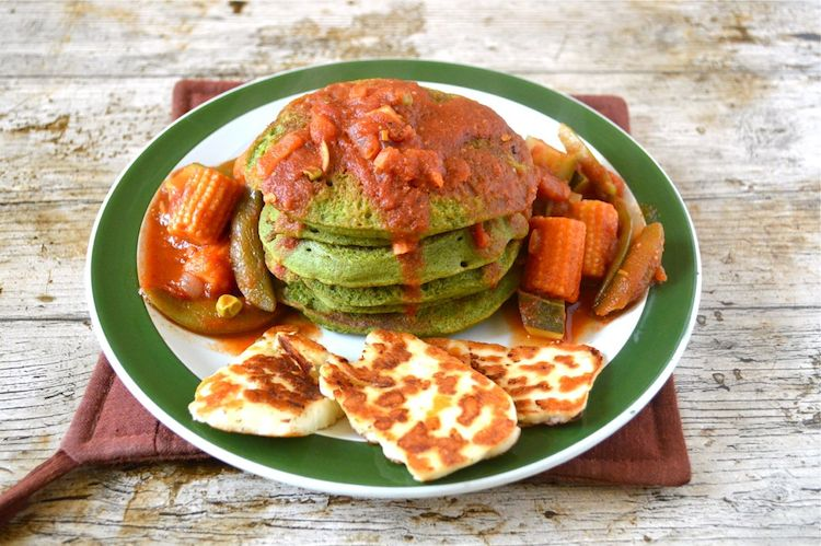 Kefir Kale Pancakes with Spicy Tomato Sauce and Fried Halloumi Slices