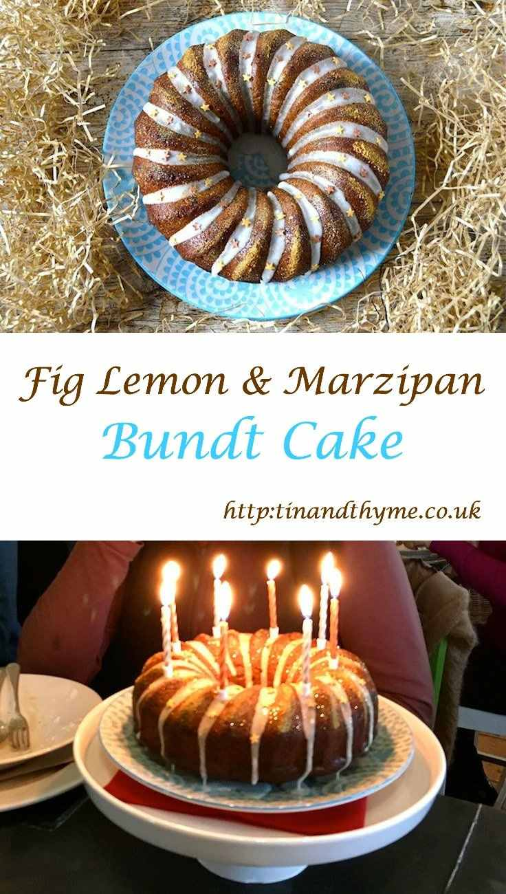 Fig Lemon Marzipan Bundt Cake. Great for any special occasion including Christmas, New Year's Day or Twelfth Night. #tinandthyme #cake #christmas #twelfthnight #marzipan #figs #lemon #recipe #christmasrecipe