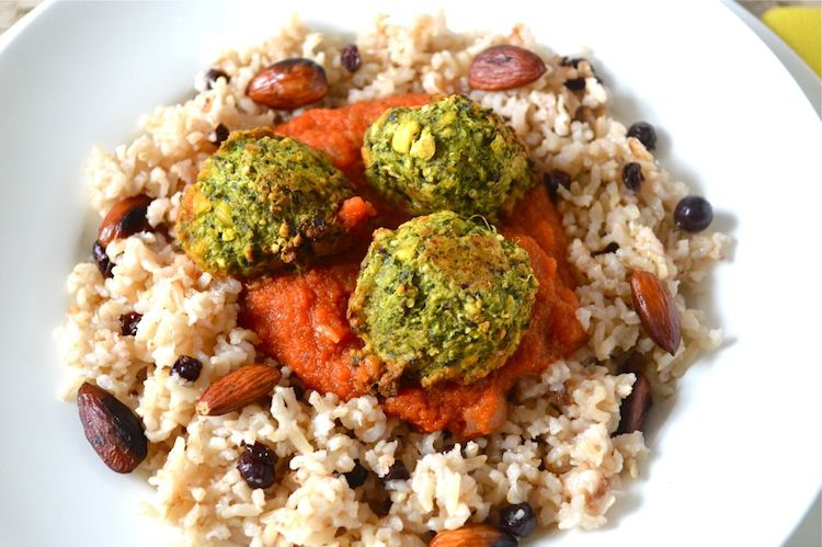 Green Veggie Meatballs with Rice Pilaf