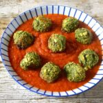 Green Veggie Meatballs with Spicy Tomato Sauce