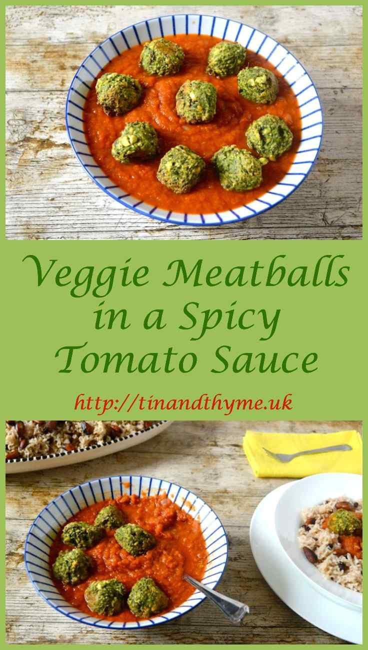 Green Veggie Meatballs in a Spicy Tomato Sauce