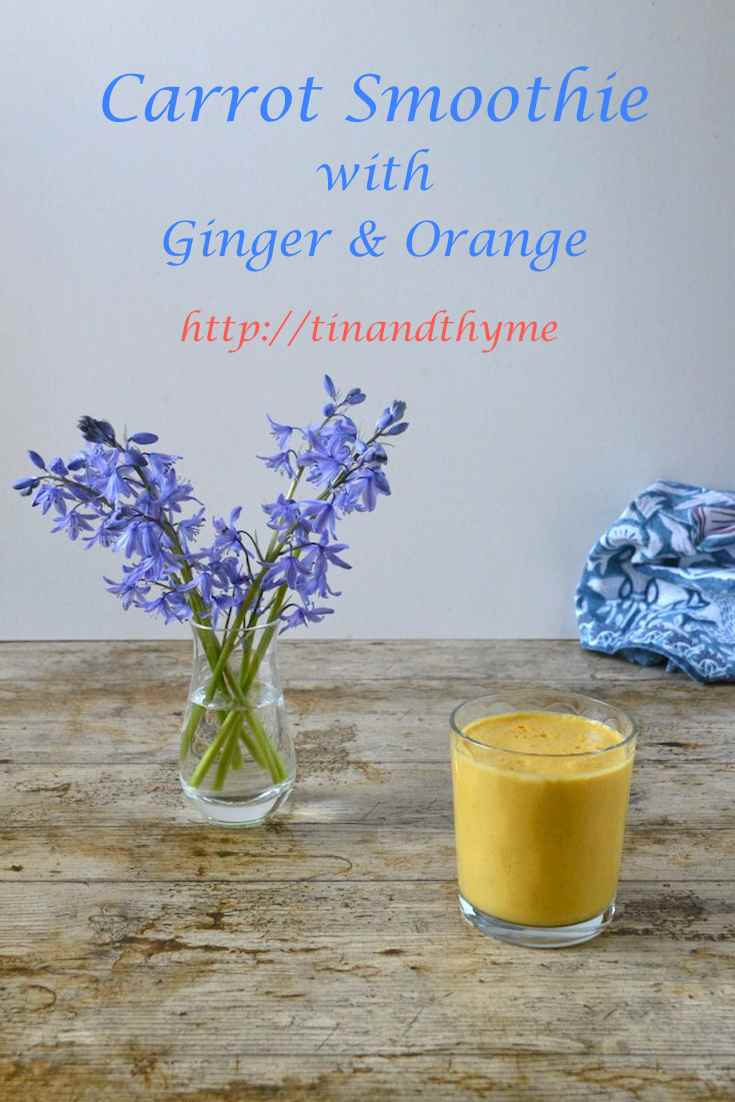 Carrot Smoothie with ginger & orange. Made with kefir, but you can easily be adapted to dairy free and vegan. Nutritious and delicious, it makes a great start to the day.