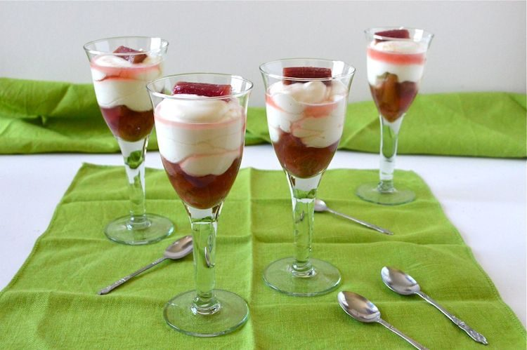 Champagne Syllabub with Orange Rhubarb Compote
