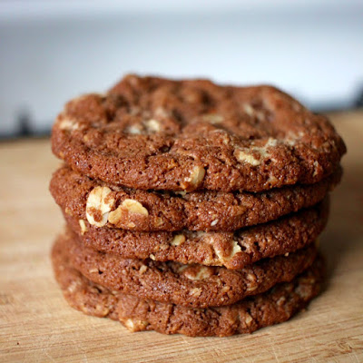 Anzac biscuits with milo and white chocolate.