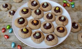 Almond Easter Thumbprint Cookies with Amaretto Chocolate Ganache