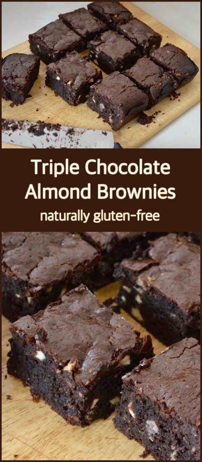Triple Chocolate Almond Brownies - Naturally Gluten Free