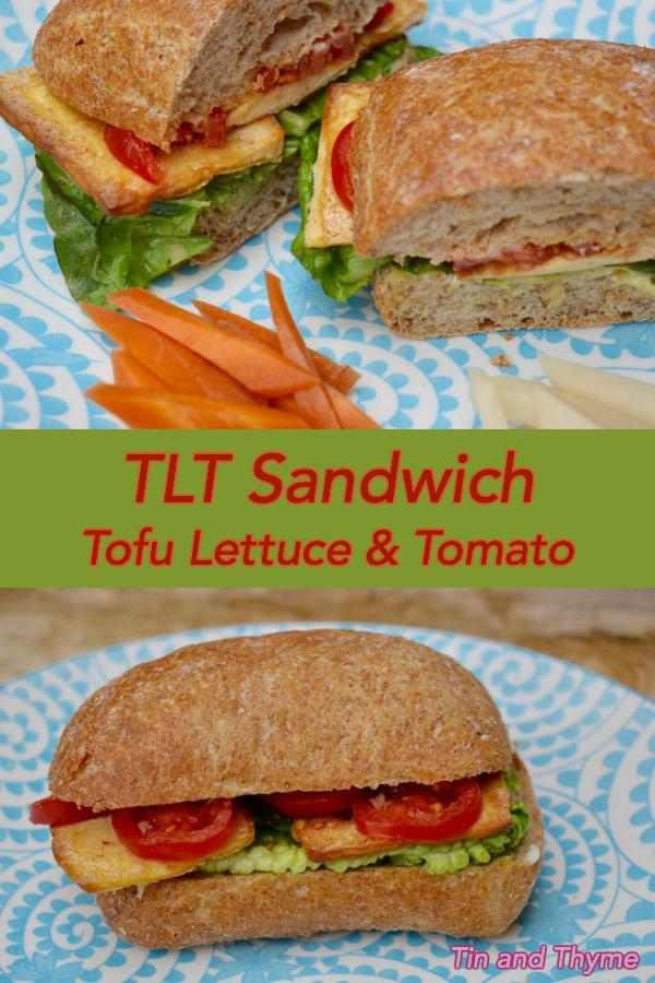 Tofu Lettuce Tomato Sandwich. A delicious quick brunch or lunch vegan sandwich made with smoked tofu. #VeganRecipe #Recipe #Vegan #Tofu #Sandwich