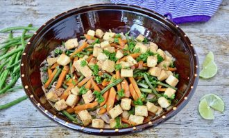 Spicy Peanut Butter Noodles with Steamed Vegetables and Smoked Tofu