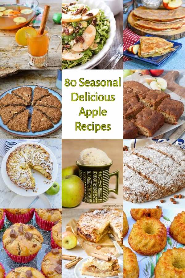 80 Seasonal and Delicious Apple Recipes to Make This Autumn. #apples #applerecipes #autumnrecipes #fallrecipes #fall #autumn #vegetarian
