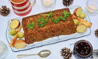 Lentil and Brazil Nut Roast with Sage & Onion Stuffing and Red Wine Gravy