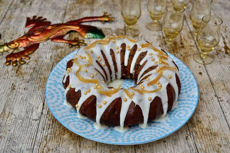 Earl Grey Fruit Cake with Orange Icing