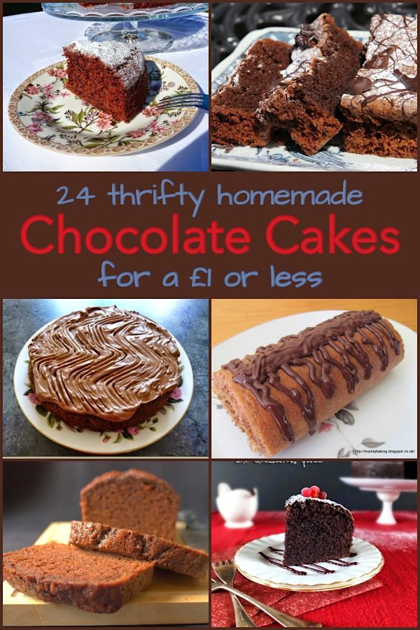 24 Thrifty Homemade Chocolate Cakes for £1 showing title plus photos of six of the cakes