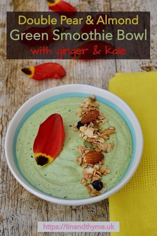 Double Pear & Almond Green Smoothie Bowl with Granola and Tulip Petals.