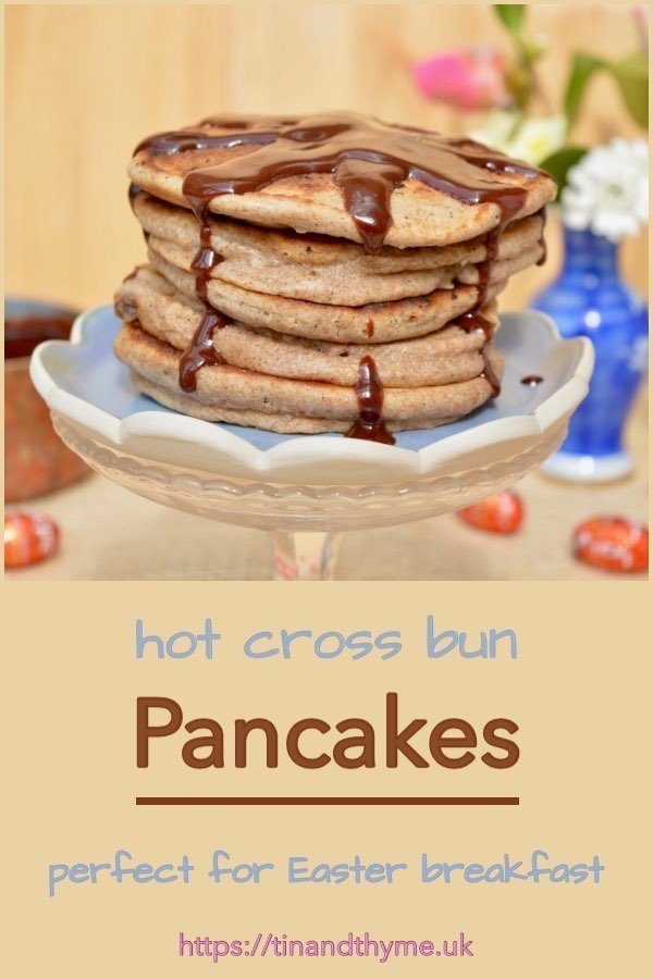 Hot Cross Bun Pancakes for Easter Breakfast or Brunch with Chocolate Sauce.