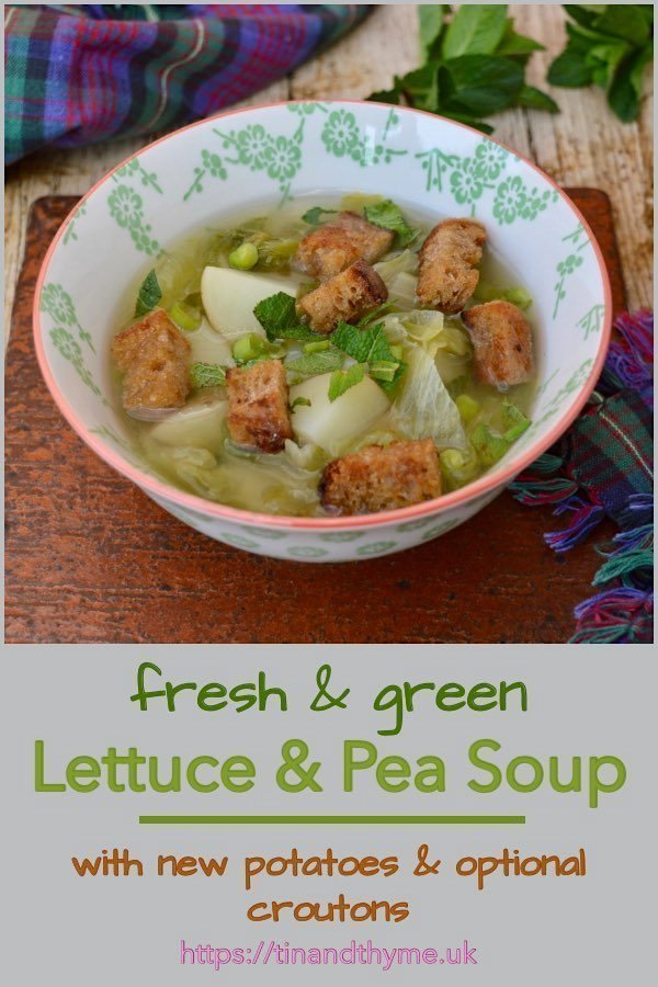 Lettuce & Pea Soup with New Potatoes and Optional Croutons