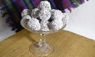 Dish full of Coconut Bliss Balls