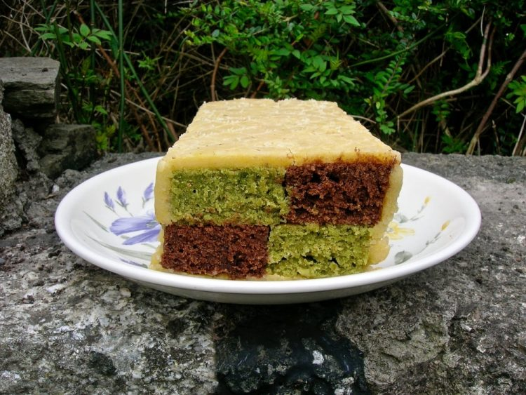 Chocolate Matcha Battenberg Cake.