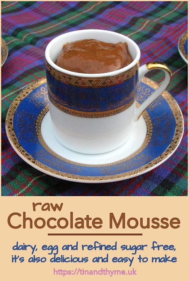 Healthy raw chocolate mousse in a cup.