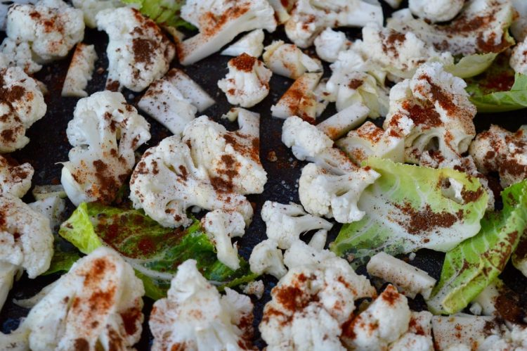Cauliflower Florets with Smoked Paprika & Cocoa ready for roasting.