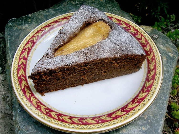Slice of Caramelised Pear and Honey Carob Cake.