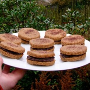 Chestnut Biscuits with a Chocolate Cream Filling.