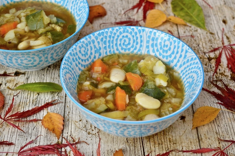 Two bowls of Simple Chunky Vegetable Soup.