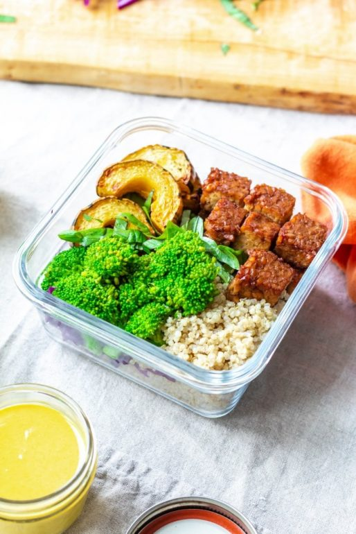 Vegan meal prep tempeh power bowls via Up Beet Kitchen.