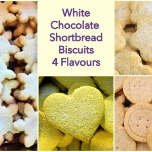 White Chocolate Shortbread Biscuits with 4 Different Flavours.