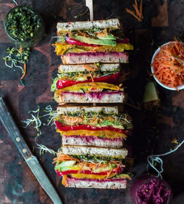 Rainbow Roast Vegetable Sandwich via Rainbow Nourishments.