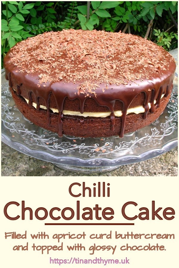 Chilli Chocolate Cake with Apricot Curd Buttercream and a Glossy Chocolate Top.