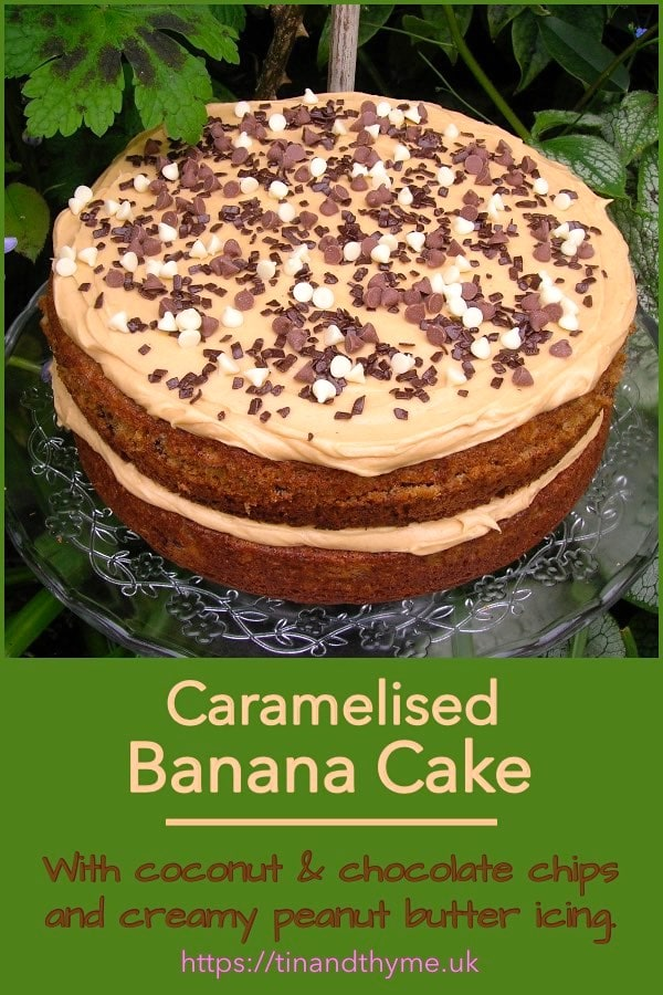 Caramelised banana cake filled and topped with peanut butter icing.