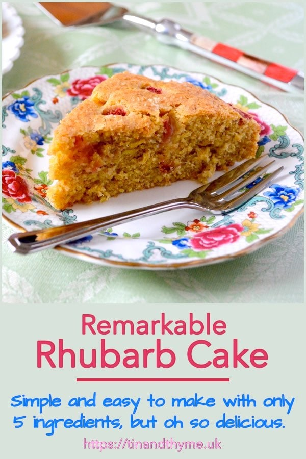 A slice of Remarkable Rhubarb Cake on a tea plate with cake fork..