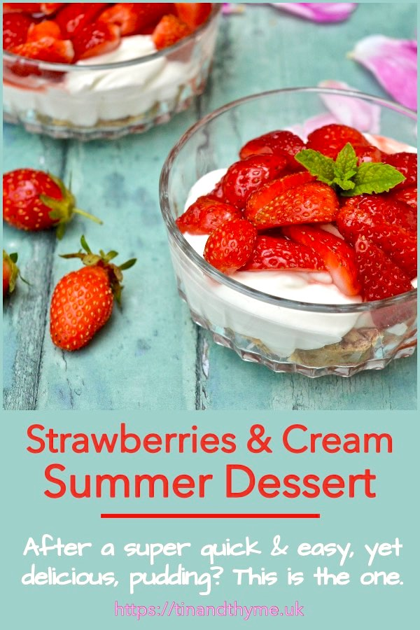 Two bowls of strawberries and cream easy summer dessert.
