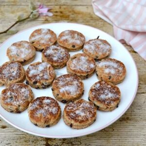 Wholemeal Spelt Welsh Cakes with magnolia blossom.